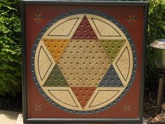 vintage chinese checkers game table   Primitive Wood Chinese Checkers Game Board Folk by JohnnyUNamath
