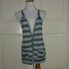 Blue and Gray Strip Tank Top Blue and Gray stripe tank top. It is pre owned and in excellent condition. Great to wear at any occasion. Faux leather straps. Anthropologie Tops Tank Tops