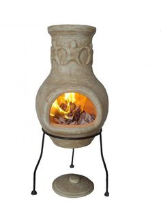 Small beige chimenea with stand. This patio heater is perfect for use all year round to keep warm in your garden. The chimenea has an amigos pattern on the funnel and comes complete with rain lid for use when the chimenea is cool.We recommend covering your chimenea when not in use and have smaller fires to begin with to allow your new clay to expand slowly.These chimeneas are hand made and hand painted and therefore each chimenea is unique, therefore colours and shapes may vary slightly.