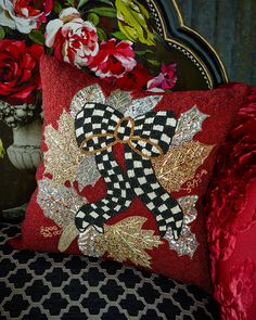 MacKenzie-Childs Berry Frost Beaded Square Pillow