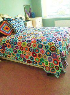 Beautiful Crochet Bedsheet , pillow, cushions, blanket .. #FollowMe #FollowBack for more #Crochet posts