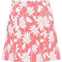Miu Miu SKIRT (9.645.270 IDR) ❤ liked on Polyvore featuring skirts, miu miu, red skater skirt, red flared skirt, daisy print skirt and flared skirt