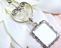 Wedding Bouquet photo charm with Crystal & heart. Photo Charm for Bouquet. Wedding Keepsake. Bridal Gift. Memorial Charm. Gift for the Bride by smilingbluedog. Explore more products on http://smilingbluedog.etsy.com