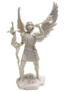 Marble White Archangel Saint Gabriel Blowing Trumpet Statue