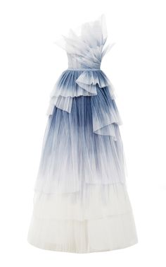 Pamella Roland Hand Pleated Tulle Gown In Blue Stage Outfits, Kpop Fashion Outfits, Fashion Dresses, Elegant Dresses, Pretty Dresses, Pretty Outfits, Ball Dresses, Ball Gowns, Short Dresses
