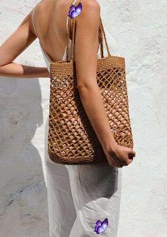 READY TO SHIP / Raffia Net Bag in Tan, Crochet Raffia Tote, Summer Tote Bag, Straw Mesh Bag, Handcrafted Tote, Net Shoulder Bag  <br> Bag Crochet, Crochet Handbags, Filet Crochet, Crochet Summer, Summer Tote Bags, Diy Tote Bag, Bag Women, Diy Accessoires, Net Bag