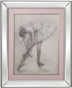 Bassett Mirror 9900-289BEC Model 9900-289B Hollywood Glam Antique Ballerina Study II Artwork, Soft charcoal renderings make these two lithe ballerinas remarkable, Matted in pink with beautiful beveled mirror frames, Dimensions 23