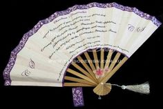 Unique invitation idea. Handmade fan invitations with wedding purple printed details. www.tangodesign.com.au