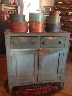 Wonderful blue Jelly Cupboard with a collection of Pantry Boxes