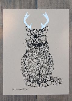 Want this too  Wild Catalope - Two Color Screen Print - Editon of 100 - by Bark Decor. $23.00, via Etsy.