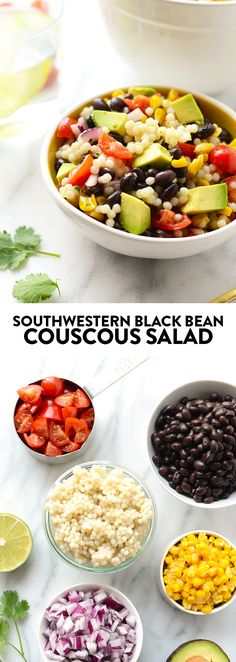 15 Dinners You Can Meal Prep on Sunday Make this Southwestern Black Bean Couscous Salad in under 20 minutes. It's packed with pulses, veggies, and healthy fats! Slow Cooking, Cooking Recipes, Crockpot, Couscous Salat, Vegetarian Recipes, Healthy Recipes, Vegan Couscous Recipes, Couscous Healthy, Dessert
