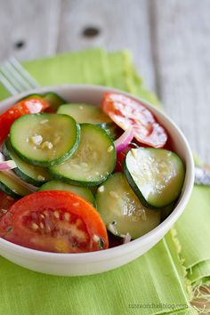 Zucchini and Tomato Salad Recipe - fresh tomatoes and zucchini shine in this easy salad perfect for a summer side dish.
