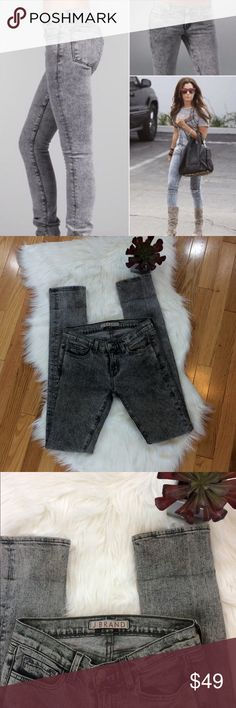"""J Brand X Ray Low Rise Pencil Leg Jeans Has some discoloration as shown but it blends in very well with the Acid wash. 98% cotton 2% spandex. 8"""" rise. 34"""" Inseam; No trades. J Brand Jeans Skinny"""