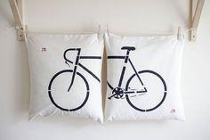 Komplet poduszek z rowerem - ręcznie malowane :) - Na-Maszynie - Poduszki