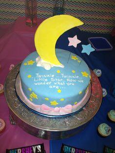 Gender reveal cake. Cake ideas. Twinkle little star.