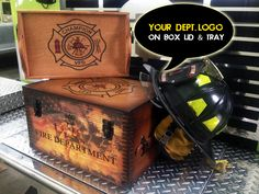 Fire Department Gifts - Wooden keepsake box is customized with your fire department artwork. Unique firefighter gifts Maltese Cross. Handcrafted in USA.