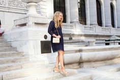 Navy Sea Lace Dress, Chanel Purse // The Stripe