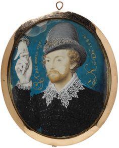 Portrait d'un homme inconnu étreignant une main d'un nuage, 1588 Nicholas Hilliard