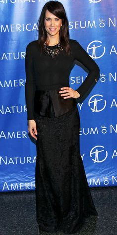 Wiig worked head-to-toe black including a floor-sweeping Theyskens' Theory skirt.