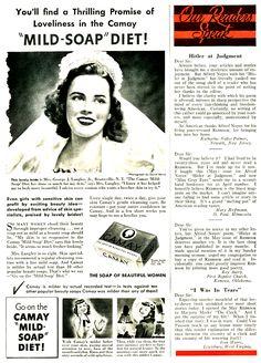 """1941. Camay """"Mild- Soap"""" Diet advert"""