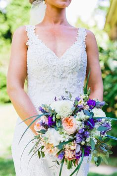 Summer bouquet with hints of pink and purple: http://www.stylemepretty.com/pennsylvania-weddings/2015/08/05/rustic-chic-diy-outdoor-garden-wedding/   Photography: Bartlett Pair Photography - http://bartlettpairphotography.com/