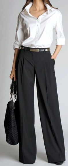 Love this classic outfit, especially the wide leg pants. (Belted wide-leg pants 2012 by St. Office Fashion, Work Fashion, Fashion Advice, Fashion Pants, Fashion Blogs, Fashion Sandals, Mode Outfits, Dressy Outfits, Office Outfits