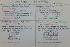 This is a project-based assessment over multiplying polynomials (including monomials). Students are given 4 scenarios that they must show how to multiply on a poster. Students create their own examples and demonstrate with explanation how to perform each multiplication on a poster. An example poster and specific directions for the student are included.