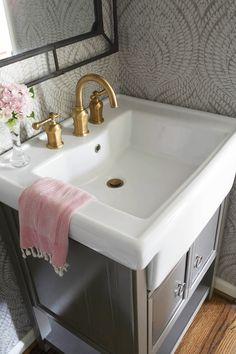 Marianne Strong Interiors, Powder bath, wallpaper, brass faucet, gray vanity, iron mirror