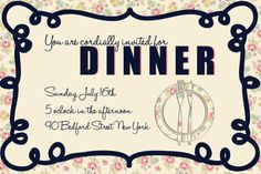 Dinner Party Invitation- created using Photoshop. Fonts Used- Halo Hand Letter & Haettenscheweiler Photoshop Fonts, Dinner Party Invitations, Girl Scouts, Invitation Design, Hand Lettering, Halo, Girl Guides, Handwriting, Corona