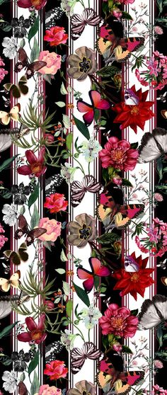 Strips and flowers Textile Prints, Textile Patterns, Print Patterns, Floral Prints, Textiles, Surface Pattern Design, Pattern Art, Cellphone Wallpaper, Iphone Wallpaper