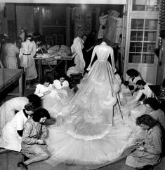 Christian Dior Atelier finishing the wedding gown for Princess Soraya who married the Shah of Iran in The dress consisted of 27 yds of silver lame, feathers and 6000 diamond pieces. Vintage Dior, Vintage Couture, Mode Vintage, Vintage Glamour, Vintage Fashion, Vintage Ballet, Dress Vintage, Christian Dior, Royal Brides