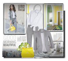 """Grey &  yellow"" by barbara-gennari ❤ liked on Polyvore featuring Maje, Miss Selfridge, Hogan and Dolce&Gabbana"