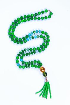שרשרת מאלה, שרשרת יוגה,שרשרת אבני חן, שרשרת ירוקה, שרשרת מאלה צבעונית, שרשרת מאלה חרוזים, שרשרת מאלה ארוכה | taodesign8 | מרמלדה מרקט