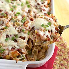 Nacho pasta bake. Easy, adaptable and tasty.