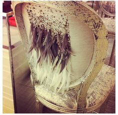 Sparkles and feathers on a chair Sparkles, Feathers, Wedding Decorations, Tapestry, Chair, Home Decor, Hanging Tapestry, Tapestries, Decoration Home