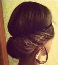 This is such a gorgeous and classic hairstyle. I love doing this with my hair, because it's a style that you can dress up or dress down. It's very easy to achieve, all you do is wrap your hair around the headband and tuck your hair (towards your head) into the band. Use bobby pins and pin the inside of the bun so it stays in place.