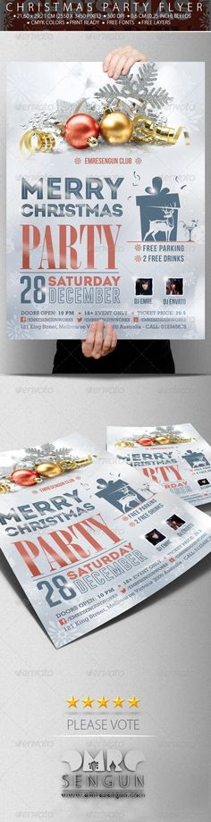 Christmas Party Flyer - Christmas Party Poster  #GraphicRiver