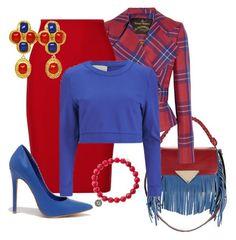 """Red & Blue"" by eva-kouliaridou ❤ liked on Polyvore featuring Sara Battaglia, Vivienne Westwood Anglomania, Roland Mouret, Lavish Alice, Chanel, Sydney Evan and Shoe Republic LA"