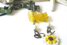 Floral Necklace Daisy Pendant Trending Yellow by BayMoonDesign