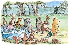 """then piglet, a little flustered and a little hungry, explained: """"christopher robin has had to come from wherever he's coming from, rabbit, and it must be a very long way, because if it wasn't he would be here by now..."""