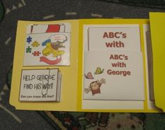 Curious George Totbook « One Little, Two Little Curious George Party, Curious George Birthday, Abc Activities, Activity Games, All Themes, Book Themes, Teaching Letters, Tot School, Kids Church