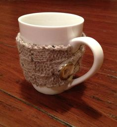 Handknit Basket Weave Mug Cozy with Button by folsomstudios,