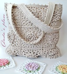 Dada's place - Victorian flower granny square crochet tote bag