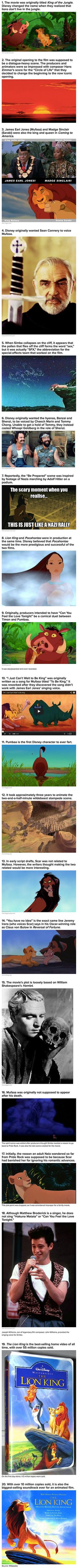"Here are some interesting things that you may not have known about The Lion King. ""Also, when you look closely, the hyenas turn into German Shepards when marching."" -SB"