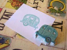 Happy Trails - Tiny Retro Ice Cube Trailer  Rubber Stamp. $10.00, via Etsy.