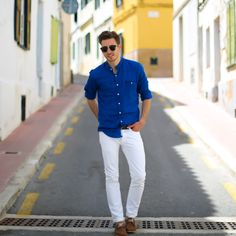 blue linen shirt and white pants