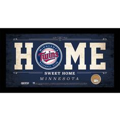 Steiner Minnesota Twins 10x20 Home Sweet Home Sign with Game-Used Dirt from Target Field