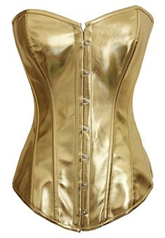 products Alivila.Y Fashion Womens Sexy Steampunk Gothic Faux Leather Boned Corset 2340A-Gold-5XL