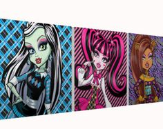 "Monster High 10x10"" Set of 3 Square Canvases"