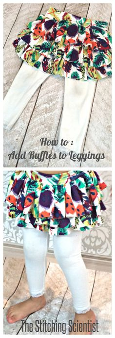 to Add Ruffles to Leggings How to add ruffles to leggings. DIY is geared towards children, but I may have to do this to my yoga pants!How to add ruffles to leggings. DIY is geared towards children, but I may have to do this to my yoga pants! Kids Clothes Patterns, Sewing Kids Clothes, Sewing For Kids, Baby Sewing, Clothing Patterns, Baby Leggings Pattern, Sewing Ruffles, Diy Clothing, Diy Fashion